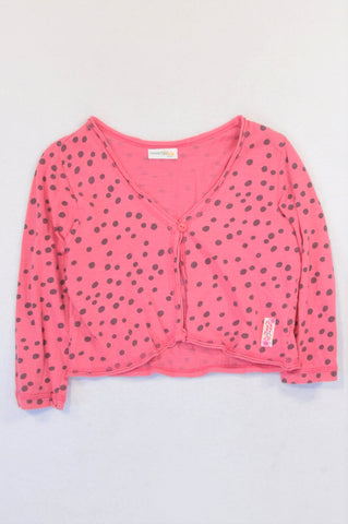 Naartjie Charcoal Dotty Pink 3/4 Sleeve Cropped Cardigan Girls 6-8 years