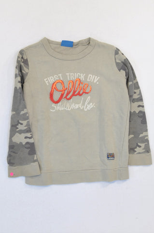 Naartjie Camo Sleeve Taupe Ollie Pullover Top Boys 5-6 years