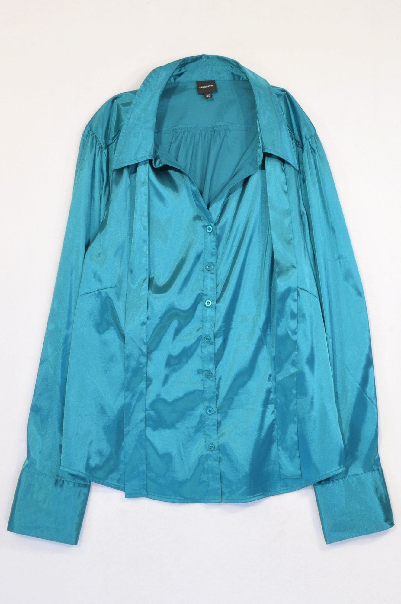 New Truworths Teal Satin Neck Tie Blouse Women Size 40