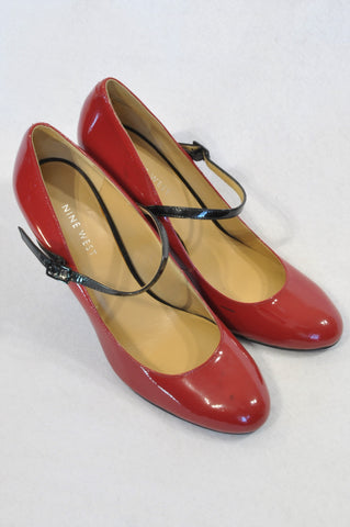 Nine West Red Mary Jane Strap Heel Shoes Women Size 5.5