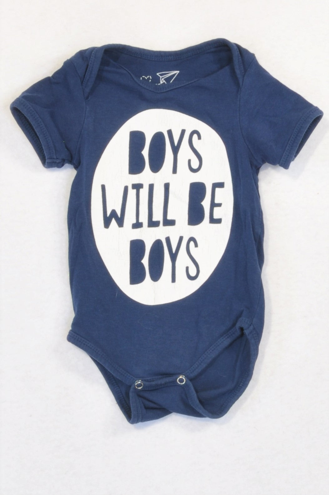 Woolworths Navy Boys Will Be Boys Baby Grow Boys 0-3 months