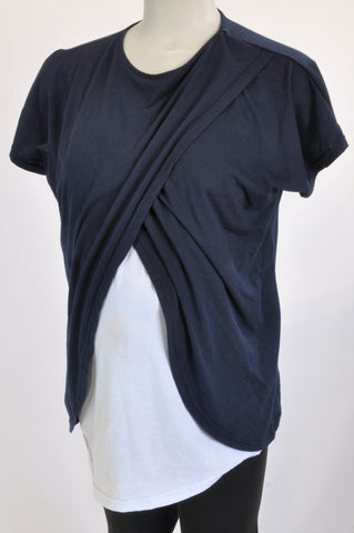 Edit Collection Navy & White Panel Maternity T-Shirt Size 40