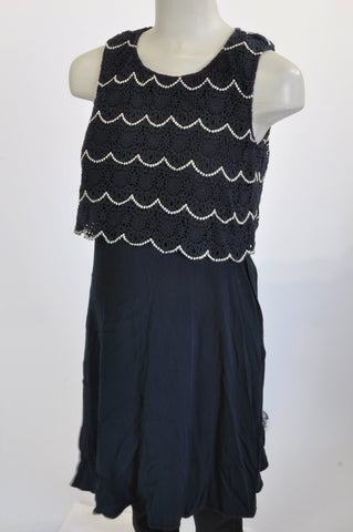 Seraphine Navy Crochet Bodice Maternity Dress Size 12