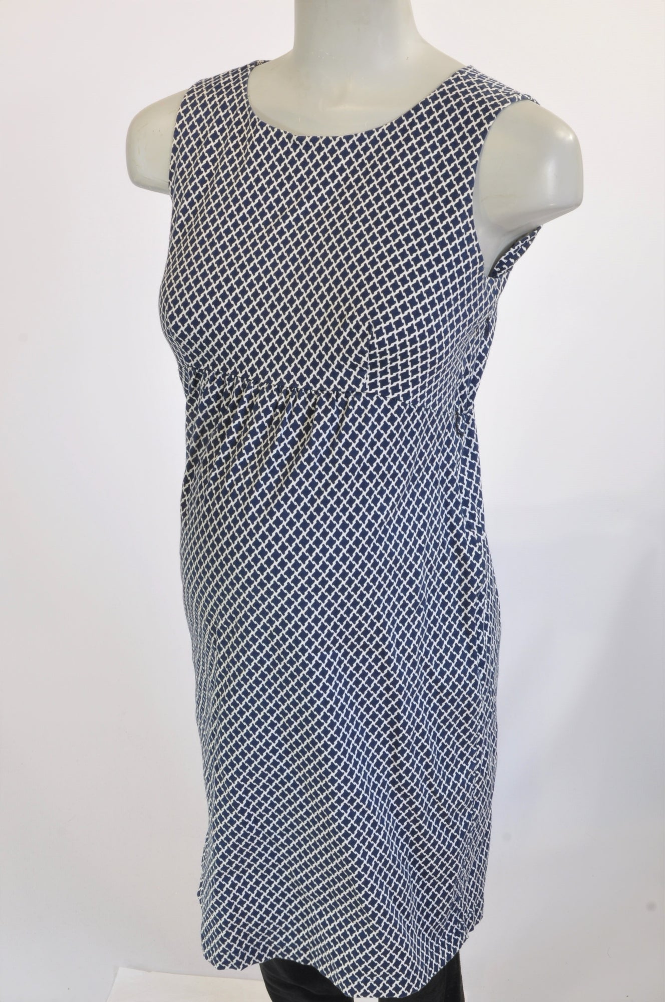 Seraphine Navy & Cream Geometric Print Pencil Maternity Dress Size 12