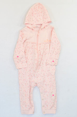 Naartjie Pink Triangles Hooded Ruffle Trim Onesie Girls 12-18 months
