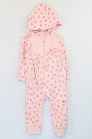 Naartjie Pink Dotty Hooded Onesie Girls 12-18 months