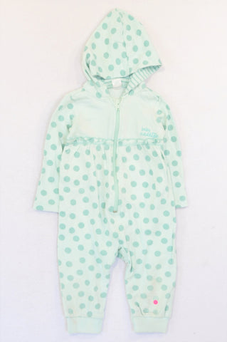 Naartjie Aqua Dotty Hooded Onesie Girls 12-18 months