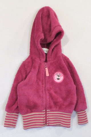 Naartjie Plum Fleece Zebra Patch Banded Zip Hoodie Girls 9-12 months