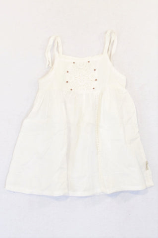 Naartjie White Lace Medallion Dress Girls 12-18 months