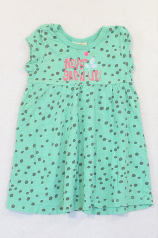 Naartjie Aqua Dotty Never Grow Up Baby Doll Dress Girls 12-18 months