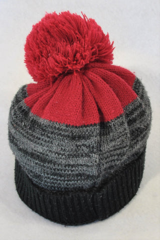Unbranded Black, Grey & Red Pom Pom Beanie Unisex 18 months to 3 years