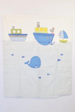 Unbranded Grey Check Whale & Sailboat Embroidered Camp Cot Duvet Cover Boys N-B to 1 year