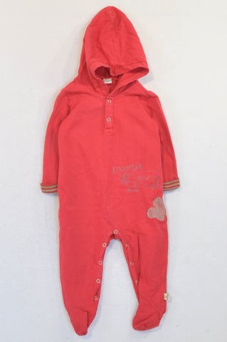 Naartjie Red Aeroplane Cloud Snap Onesie Boys 6-12 months
