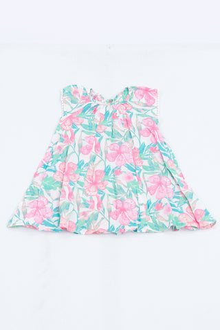 Naartjie Pink & Green Tropical Hibiscus Pom Pom Trim Dress Girls 2-3 years