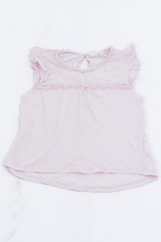 GAP Baby Pink Crochet Detail Frill Sleeve Tank Top Girls 7-8 years
