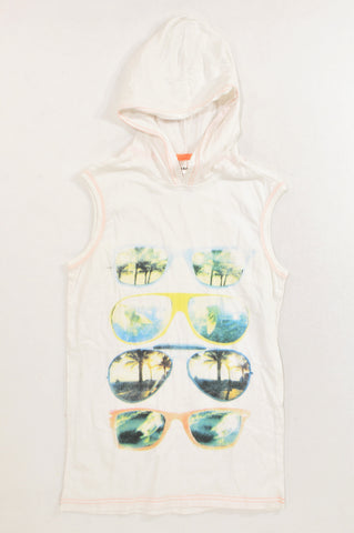 New Revolution White Sunglass Hooded Vest T-shirt Boys 13-14 years