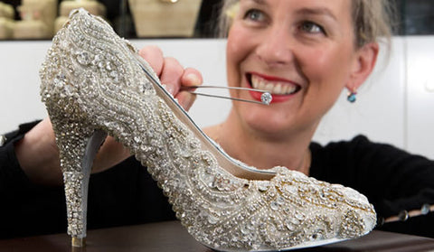 Diamond shoe being made by Sarah Hutchings