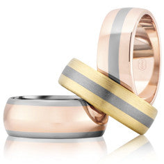 Mixed metal wedding bands