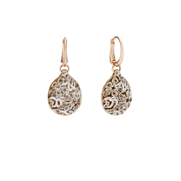 Arabesque champagne diamond 18k gold earrings