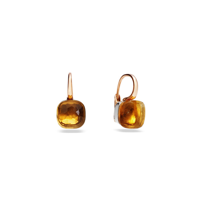 Nudo Classic Earrings in 18k Rose and White Gold with Citrine Quartz