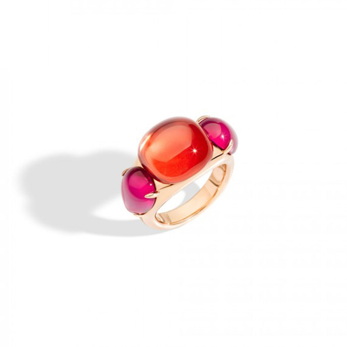 Pomellato Rouge Passion Ring in 9k Rose Gold with Orange Sapphire and Red Ruby