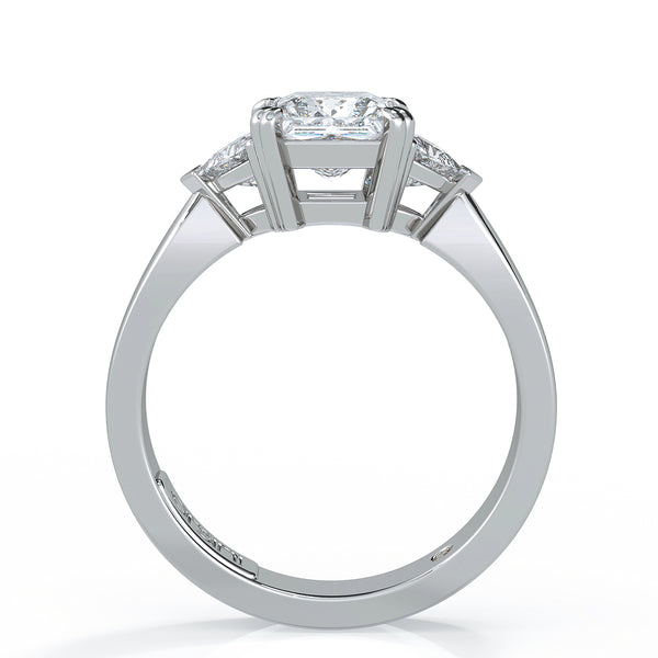 Engagement Rings Auckland: Princess Cut With Two Trillion Diamonds Engagement Ring