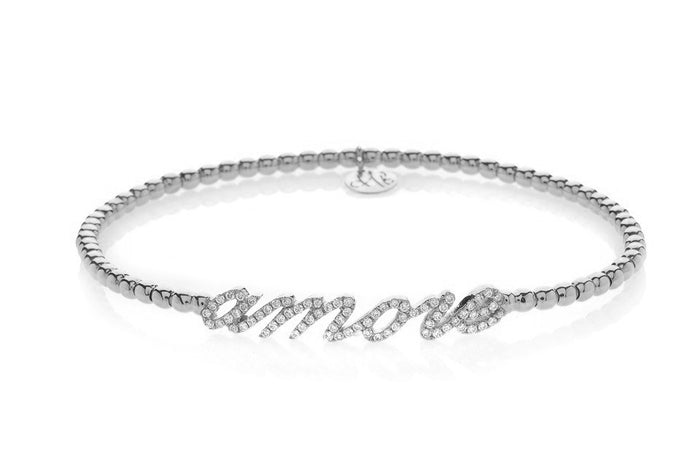 Hulchi Belluni Amore 'Love' Italics Diamonds & 18k Rose Gold Ball Stretch Bracelet (sm)