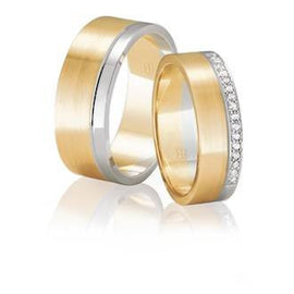 Two-tone Flat Matching Wedding Rings, with Grain Parallel Finish & Diamond Edge Detailing