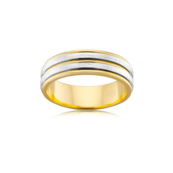 Double white & yellow row wedding band