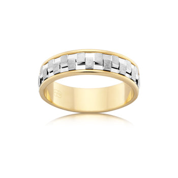 Textured woven white gold ring with yellow gold edge