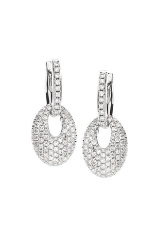 Hulchi Belluni Turtle Collection 18kt White Gold and Diamond Drop earrings