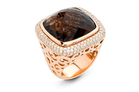 Laguna Ring with Cognac Quartz & Diamonds