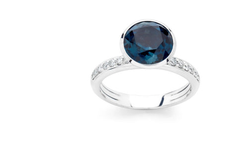 Funghetti 18k White Gold Large Blue Topaz & Diamond Ring by Hulchi Belluni