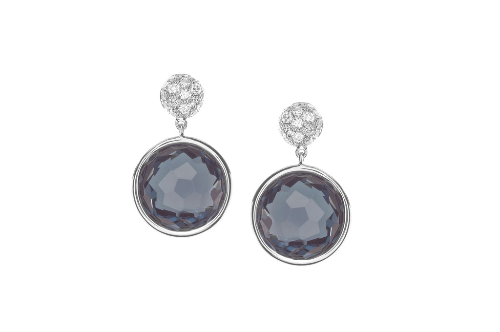 Colori Earrings in 18k White Gold with Topaz and Micropave Diamonds