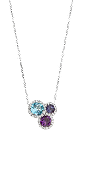 Colori Pendant in 18k White Gold with Amethyst, Iolite, Blue topaz and Diamonds