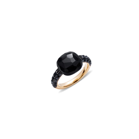 Onyx and black diamond 18k gold ring