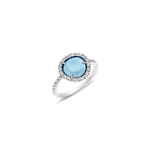Colpo Di Fulmine Blue Topaz and Diamond Ring