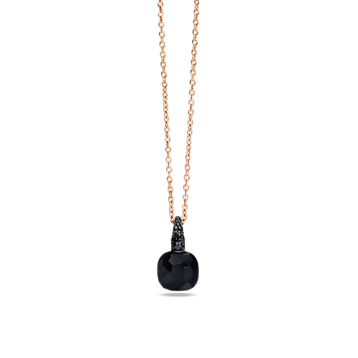 Capri Pendant with Chain in 18k Rose Gold with Onyx and Black Diamonds