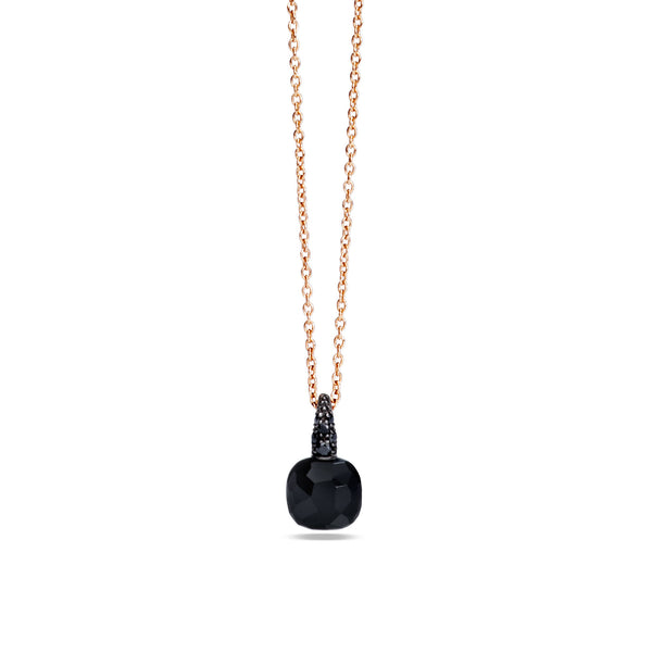 Onyx and black diamond 18k gold necklace