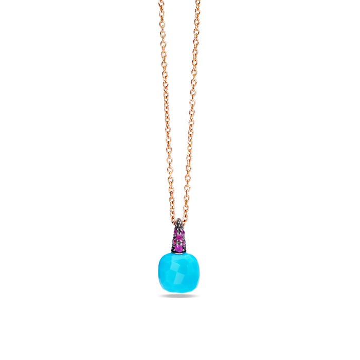 Capri Pendant with Chain in 18k Rose Gold with Turquoise and Rubies