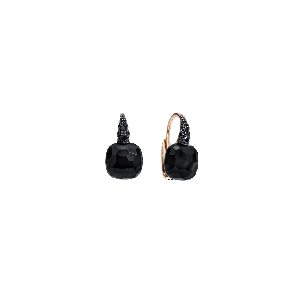 Onyx and black diamond 18k gold earrings