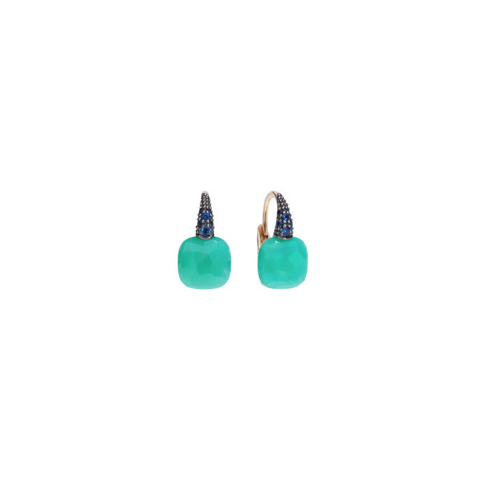 Capri Earrings in 18k Rose Gold with Chrysoprase and Blue Sapphires
