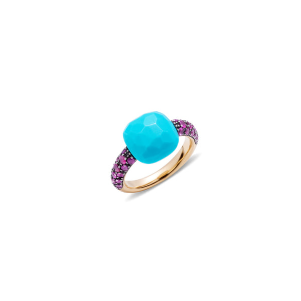 Turquoise and ruby 18k gold ring