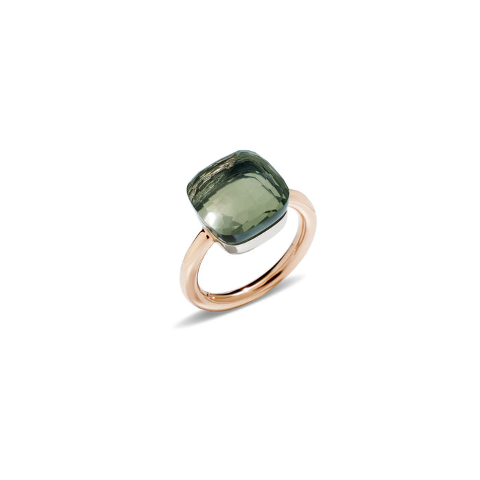Nudo Maxi Ring in 18k Rose Gold and White Gold with Prasiolite