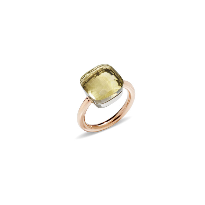Nudo Maxi Ring in 18k Rose Gold and White Gold with Lemon Quartz