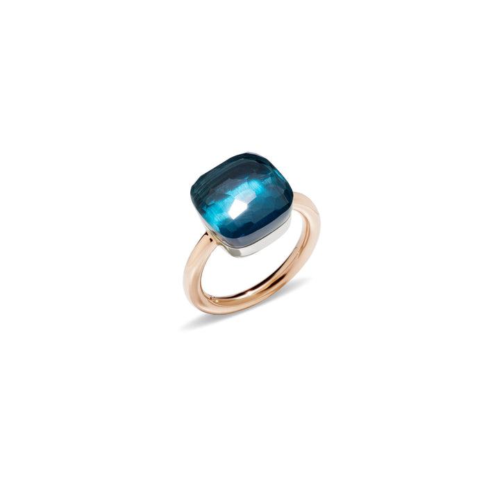 Nudo Maxi Ring in 18k Rose Gold and White Gold with London Blue Topaz