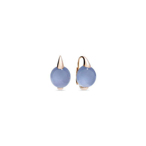 Luna Blue Chalcedony Rose Gold Earrings