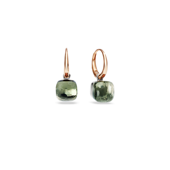 Nudo Petit Earrings in 18k rose and white gold with Prasiolite