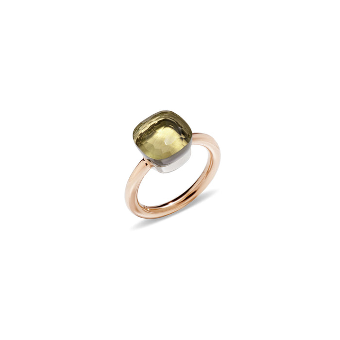 Nudo Classic Ring in 18k Rose Gold and White Gold Lemon Quartz