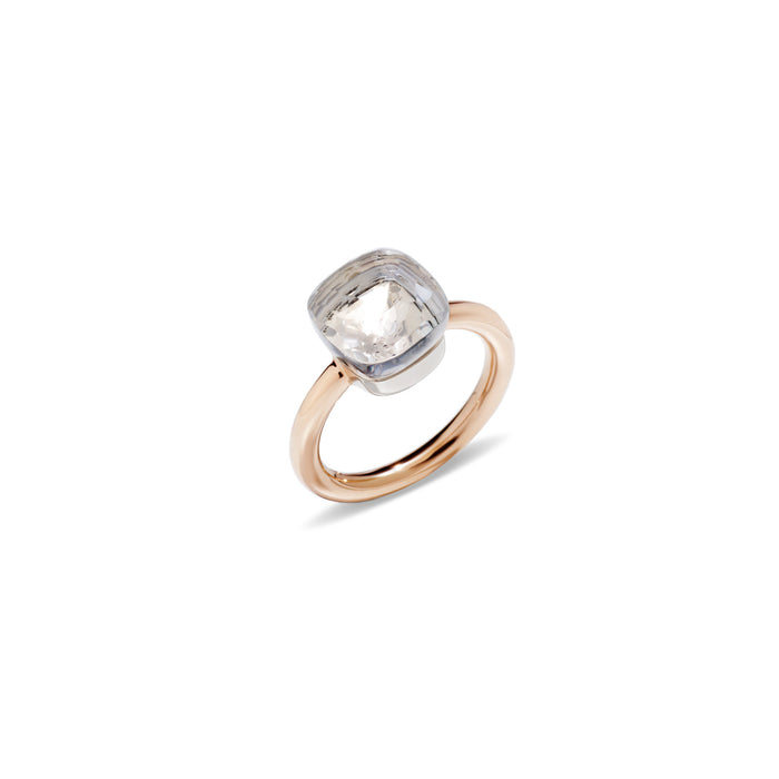Nudo Classic Ring in 18k Rose Gold and White Gold with White Topaz